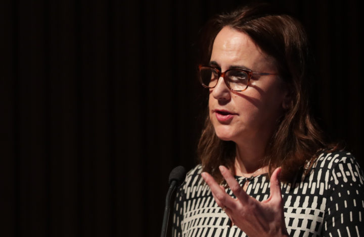 Head of Unit for Strategic Communication at the European Commission's Directorate General for Communication, Tina Zournatzi, discursa durante a Conferência