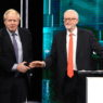 epa08009620 A handout photo made available by ITV shows British prime Minister and Conservative party leader Boris Johnson (L) and Labour party leader Jeremy Corbyn (R) shake hands during tonight's live debate 'Johnson v Corbyn: The ITV Debate', at ITV Studios in Manchester, Britain, 19 November 2019.  EPA/JONATHAN HORDLE / ITV / HANDOUT MANDATORY CREDIT: JONATHAN HORDLE / ITV EDITORIAL USE ONLY UNTIL 19 DECEMBER 2019 / HANDOUT NO SALES