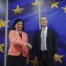 epa08223783 Facebook Ceo Mark Zuckerberg (R) is welcomed by European Commissioner for Values and Transparency Vera Jourova (L) prior to their meeting in Brussels, Belgium, 17 February 2020.  EPA/OLIVIER HOSLET