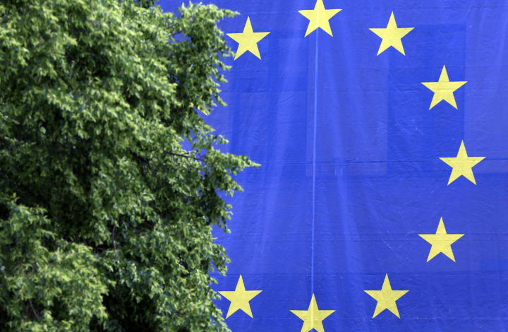 epa07605210 An European flag hangs outside The Greens' party headquarters in Berlin, Germany, 27 May 2019. The Greens experienced a raise up to 20 percent of the votes in the European elections in Germany. The European Parliament election was held by member countries of the European Union (EU) from 23 to 26 May 2019.  EPA/FELIPE TRUEBA