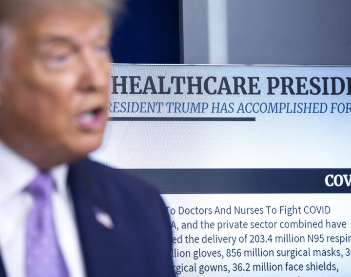epa08586553 A display reading 'Healthcare President' is seen behind US President Donald J. Trump as he speaks during a news conference in the James S. Brady Press Briefing Room at the White House in Washington, DC, USA, 05 August 2020. President Trump discussed progress being made on negotiations over the next coronavirus relief package.  EPA/Stefani Reynolds / POOL