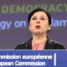 epa08859018 European Commission vice-president in charge for values and Transparency Vera Jourova gives a press conference on European Democracy Action Plan and a new Strategy on the Charter of Fundamental Rights at EU headquarters in Brussels, Belgium, 03 December 2020.  EPA/KENZO TRIBOUILLARD / POOL