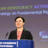 epa08859041 European Commission vice-president in charge for values and Transparency Vera Jourova gives a press conference on European Democracy Action Plan and a new Strategy on the Charter of Fundamental Rights at EU headquarters in Brussels, Belgium, 03 December 2020.  EPA/KENZO TRIBOUILLARD / POOL