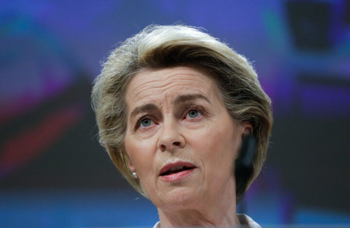 epa09018449 European Commission President Ursula von der Leyen gives a press conference on the HERA Incubator to anticipate the threat of the coronavirus variants at the European Commission Headquarters in Brussels, Belgium, 17 February 2021.  EPA/ARIS OIKONOMOU / POOL