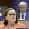 epa09065651 Portugal's European Affairs Secretary Ana Paula Zacarias speaks during a plenary session at the European Parliament in Brussels, Belgium, 10 March 2021.  EPA/JOHANNA GERON / POOL